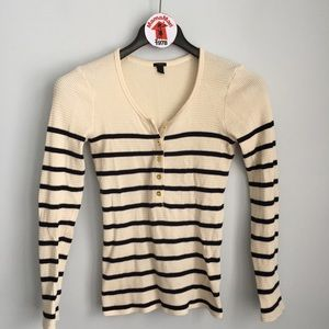 J.CREW Thermal Striped Henley Top